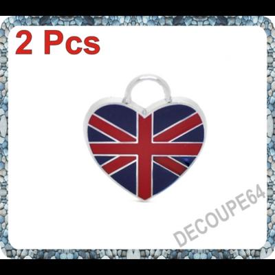 1 Pendentif coeur london drapeau anglais émaillé 22x20m