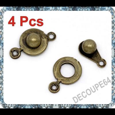 Lot de 4 fermoirs pression métal couleur bronze 18x9mm