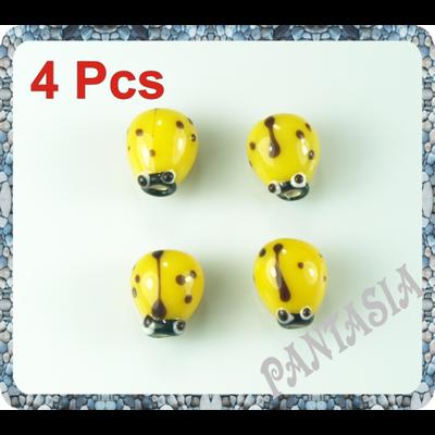 Lot de 4 perles coccinelle en verre lampwork  jaune