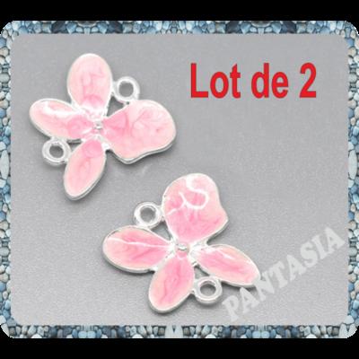 1 Pendentif connecteur papillons rose émaillé 19x19mm