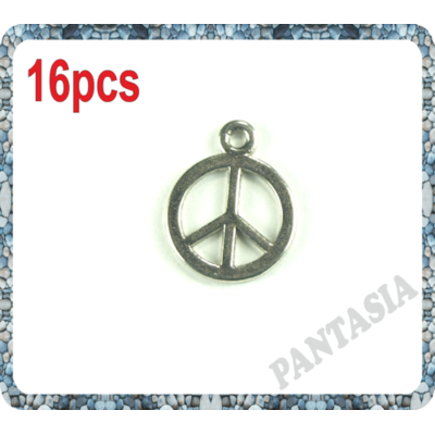 Lot de 16 Breloque peace and love en métal argenté 15x12mm