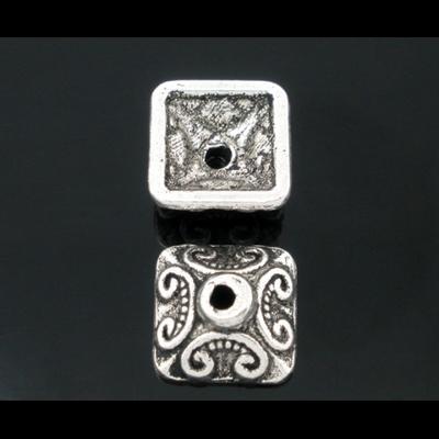 Lot de 10 Coupelles 10mm carré en métal argenté