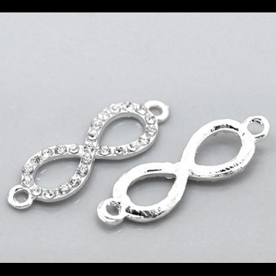 Un connecteur infinity avec strass métal argenté 33x10mm