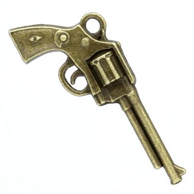 Lot de 4 Breloques pistolet en métal couleur bronze 35mm