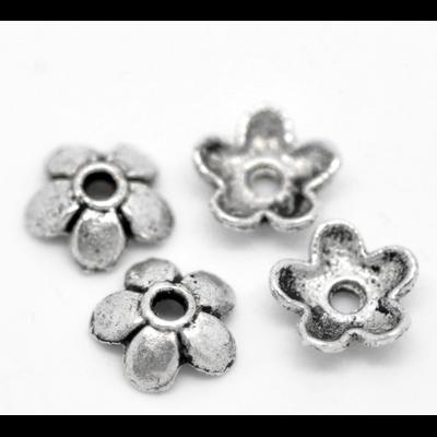 Lot de 30 Coupelles fleur en métal argenté 6mm