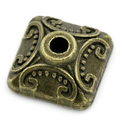 Lot de 10 Coupelles carrées 10mm en métal couleur bronze