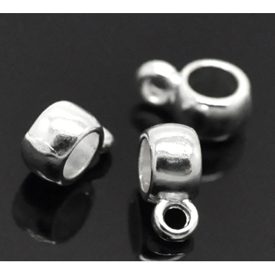 Lot de 14 Perles bélières en métal argenté 9x4mm