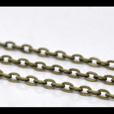 1 mètre de chaine en métal couleur bronze 4x3mm
