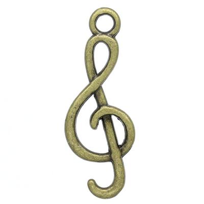 Lot de 10 Breloques clés de sol en métal couleur bronze 26x9mm