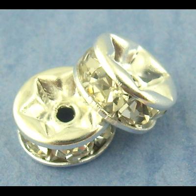 Lot de 10 Perles rondelles strass en métal argenté 6mm