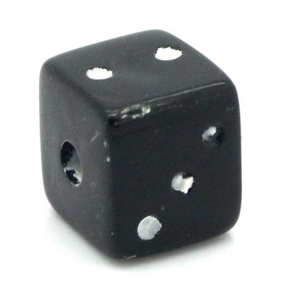 Lot de 20 Perles dés a jouer noir acrylique 7x7mm