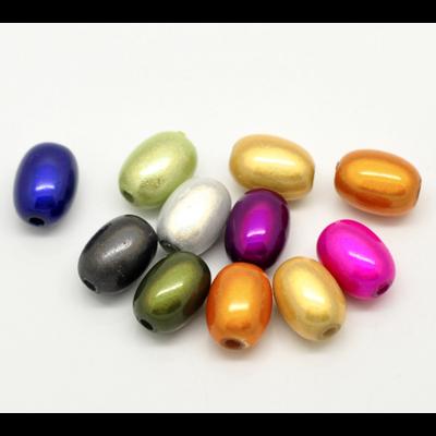Lot de 10 perles magiques miracles de forme ovale  11x8mm couleurs mélangées