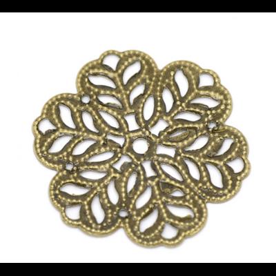 Lot de 14 Connecteurs fleur filigrane en métal couleur bronze 29mm