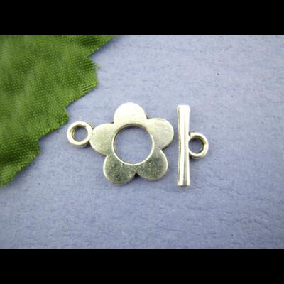 Lot de 4 fermoirs toggle métal argenté 16x20mm