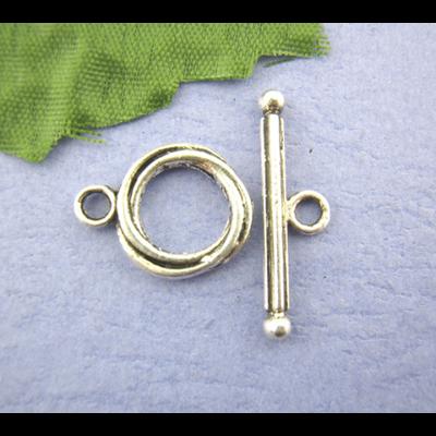 Lot de 5 fermoirs toggle métal argenté 13mm