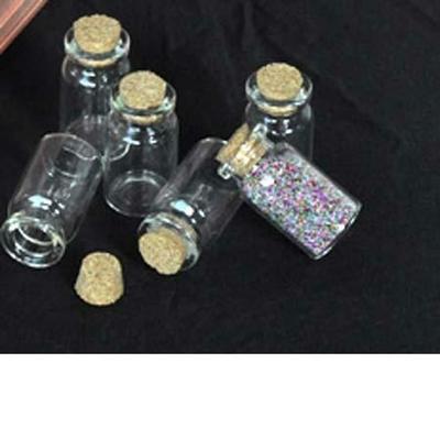 Lot de 2 fioles en verre 4.5cm, 22mm de diamètre, forme bouteille vide