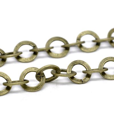 Chaîne à maille fantaisie rond ouvert en métal couleur bronze10mm vendu au mètre