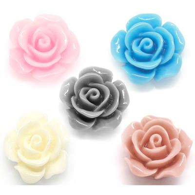 Lot de 10 fleurs en résine couleur pastel Embellissement cabochons camée14mm x 6mm