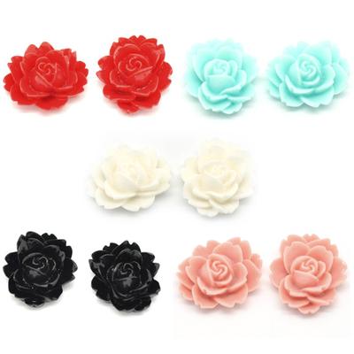 Lot de 10 fleurs en résine couleur pastel