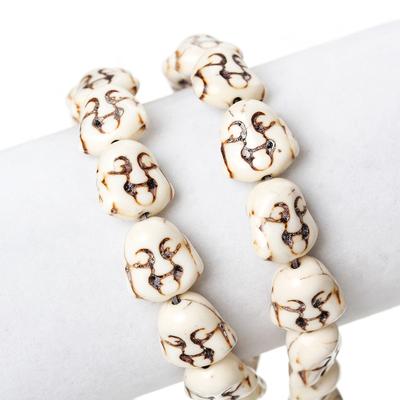 Lot de 6 perles Bouddha zen en howlite blanche 15.0mm x 14.0mm PP22