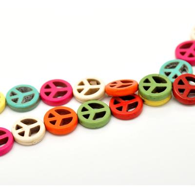 Lot de 15 perles peace and love en howlite 15mm multicolore