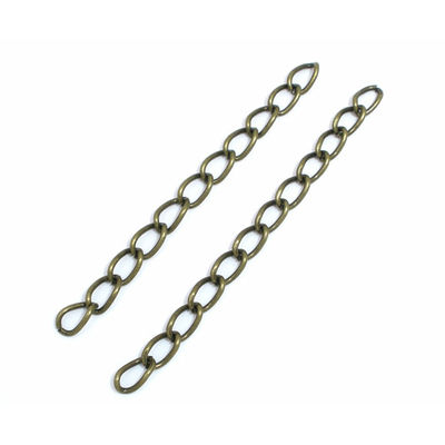 Lot de 15 chainettes de réglage, extension ou ajustement en métal bronze50x3mm