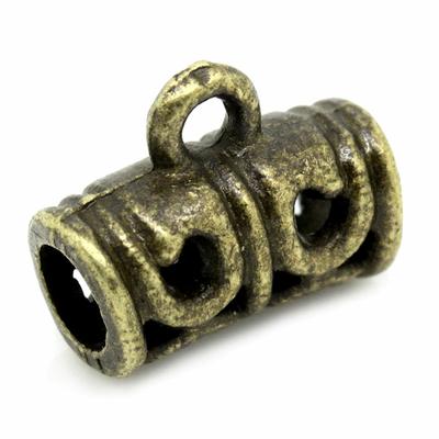 Bélières Alliage de Zinc Forme Tube Bronze antique Fleurs Creuses, 12.0mm x 9.0mm