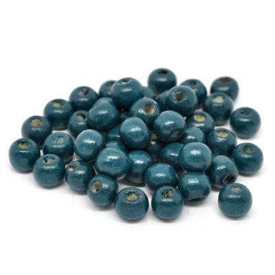 Lot de 50 perles rondes en bois 10mm, vert malachite, bleu pétrole