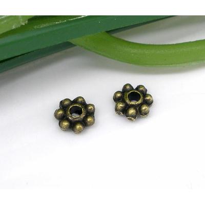 Lot de 22 Perles rondelles métal couleur bronze 4x4mm