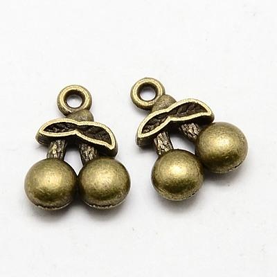 14 breloques cerises doubles  et feuille en métal bronze 14x11x3.5mm