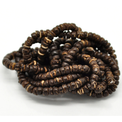 Lot de 70  Perles Coquille de Coco marron 5mm
