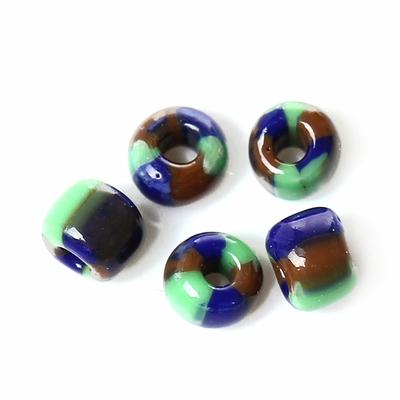 10g de perles de rocailles en verre 2mm, tricolore vert marron bleu marine