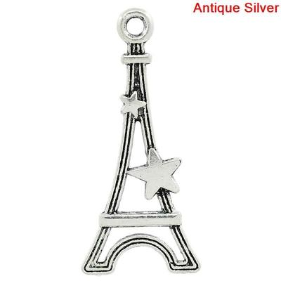 Lot de 10 Breloques Tour Eiffel et étoile en métal argenté 29mm