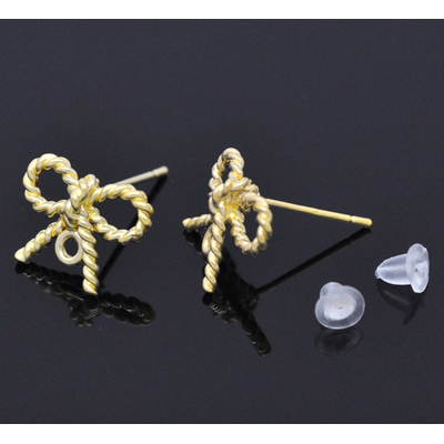 Lot de 2  crochets  en forme de noeud Boucles d'oreilles en  métal doré
