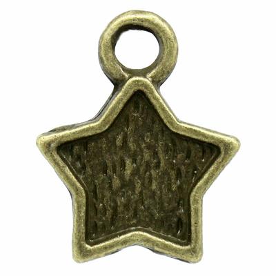 Lot de 15 Breloques forme étoile de mer  métal couleur bronze 12x10 mm