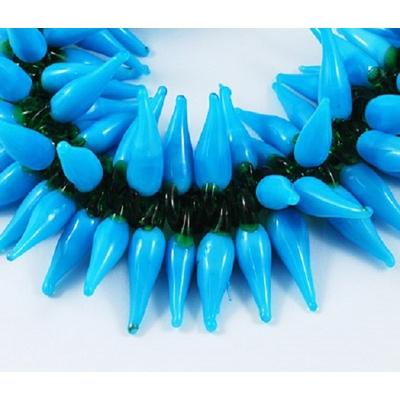 Lot de 10 Piments en verre fabriqué  au chalumeau   à la main, bleu opaline,