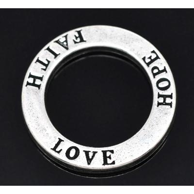 """Anneau gravé texte """"LOVE HOPE FAITH"""" Métal argenté diamètre 23mm"""