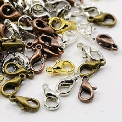 Lot de 12 fermoirs mousqueton métal couleur mélangée 12x7mm