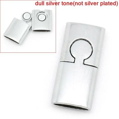 un fermoir plat aimanté magnétique métal argenté 30x14mm