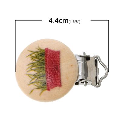 Un clip pour attache tétine en bois, coté jardin, forme ronde  vichy 44x29mm