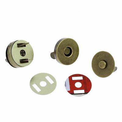 Lot de 4 fermoirs ronds magnétiques hématite  18mm couleur bronze antique