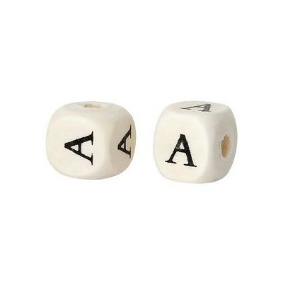 Lot de 10 perles cubes alphabet en bois 10mm, naturel, lettre A