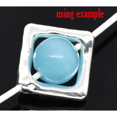 Lot de 6 perles carrées en métal argenté 12x12mm