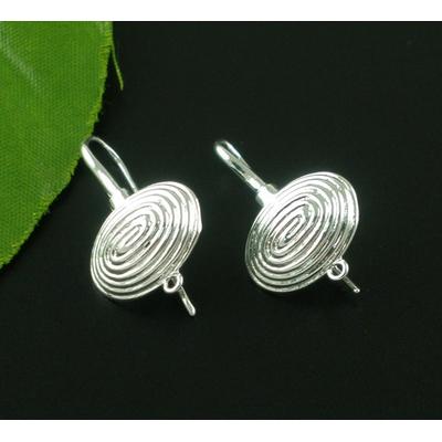 Lot de 2 crochets Boucles d'oreilles en  métal argenté