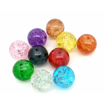 Lot de 20 perles en verre10mm multicolores, craquelées