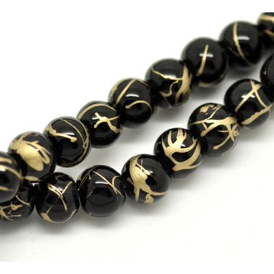 Lot de 50 perles en verre 6mm noir effet craquelé