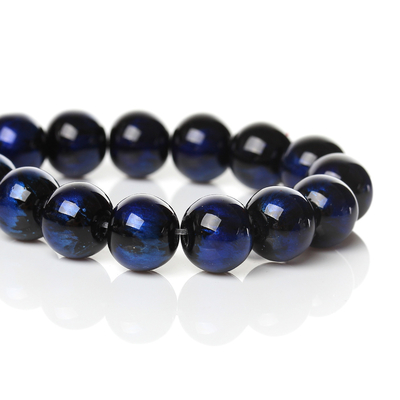 Lot de 15 perles en verre 10mm noir reflets bleu marine-bleu nuit