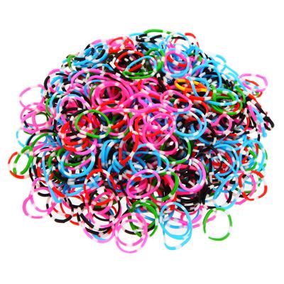 Lot de 600 élastiques chiné noir  multicolores  en silicone