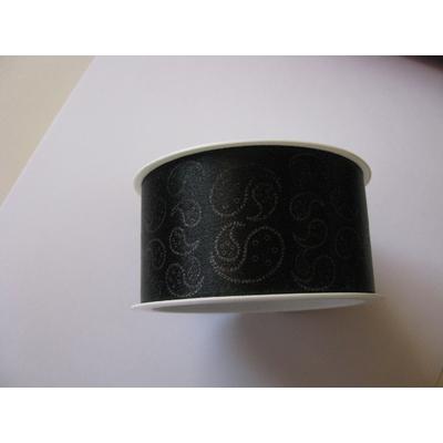 ruban cadeau 4 cm noir motif cachemire vendu au mètre