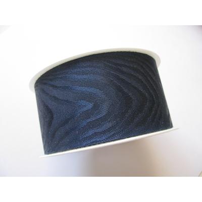 Ruban cadeau 4 cm bleu marine moiré vendu au mètre